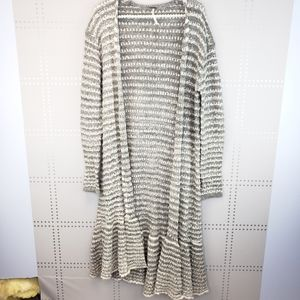 Free People | Gray and White Duster Cardigan